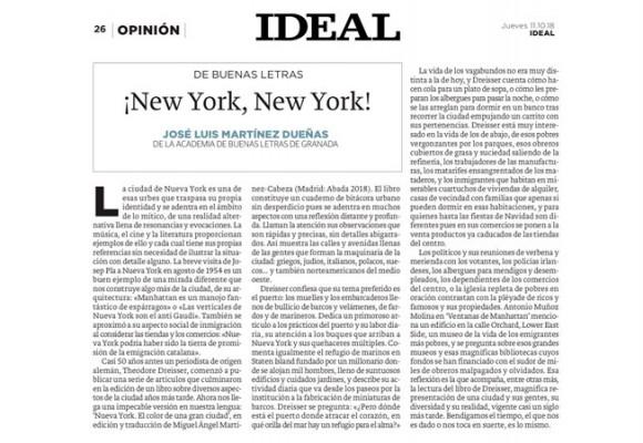 DE BUENAS LETRAS ¡New York, New York! en el Ideal de Granada
